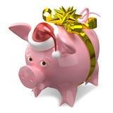illustration 3D av ett svin för nytt år i ett lock med pilbågen royaltyfri illustrationer