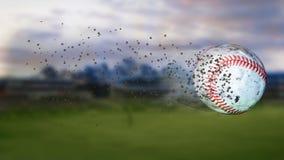 illustration 3d av flygbaseball som lämnar en slinga av damm och rök Roterande smutsig baseball, selerctive fokus Arkivbild