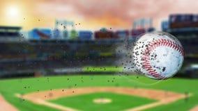 illustration 3d av flygbaseball som lämnar en slinga av damm och rök Roterande smutsig baseball, selerctive fokus Arkivfoto