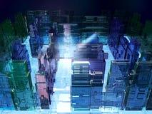 illustration 3D av futuristisk mikrochipslabyrint Bakgrund för datavetenskapfiktionteknologi Royaltyfri Fotografi