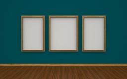 illustration 3D av galleriinre med tomma fotoramar Royaltyfri Bild