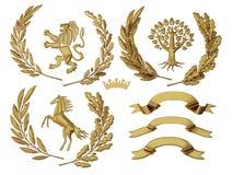 illustration 3D av heraldik En uppsättning av objekt Guld- olivgröna filialer, ekfilialer, kronor, lejon, häst, träd royaltyfri illustrationer