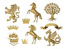 illustration 3D av heraldik En uppsättning av objekt Guld- olivgröna filialer, ekfilialer, kronor, lejon, häst, träd Vektor Illustrationer