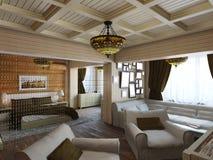 illustration 3D av inredesignen av ett sovrum i huset för Arkivfoto