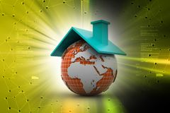 illustration 3d av jord med taket i färgbakgrund Fotografering för Bildbyråer