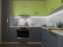 illustration 3D av kök med trä- och gröna fasader Royaltyfri Bild