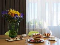illustration 3D av kök med trä- och gröna fasader Fotografering för Bildbyråer