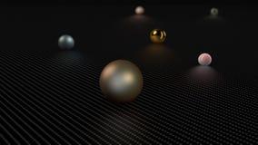 illustration 3D av många sfärer, bollar av olika format och former på en metallyttersida Abstraktion tolkning 3D royaltyfri illustrationer