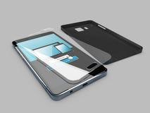 illustration 3d av mobiltelefonen, skärmskydd och mellanrumsfallet Isolerade grå färger Royaltyfri Fotografi