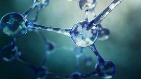 illustration 3d av molekylmodellen Vetenskapsbakgrund med molekylar Royaltyfri Bild