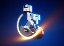 illustration 3d av motorringbultar Fotografering för Bildbyråer