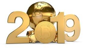 illustration 3D av 2019 och den guld- planetjorden med bitcoincryptocurrencymynt Idén för kalendern, ett symbol av royaltyfri illustrationer