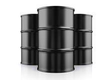 illustration 3D av olje- trummor för svart metall på vit bakgrund Royaltyfri Illustrationer