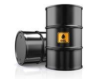 illustration 3D av olje- trummor för svart metall på vit bakgrund Stock Illustrationer
