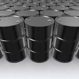 illustration 3D av olje- trummor för svart metall på vit bakgrund Vektor Illustrationer