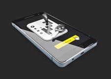 illustration 3d av online-hyrabilservice som isoleras på vit bakgrund Bil för hyrasymbol Arkivfoto