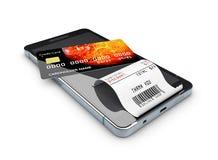 illustration 3d av online-shoppingbegreppet Smartphone med kreditkorten Arkivfoto