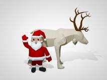 illustration 3D av origamijul ren och Santa Claus Polygonal hjort- och santa tecknad filmtecken Royaltyfri Foto