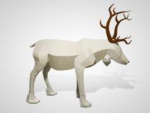 illustration 3D av origamirenen Polygonal geometriskt tecken för stilhjorttecknad film, julillustration Royaltyfri Bild