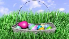 illustration 3D av påskägg som döljer i nytt grönt gräs Arkivfoton