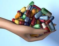 illustration 3d av piller för medicin för drog för handfull för kvinnahandinnehav arkivfoton
