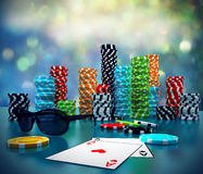 illustration 3d av pokerchiper Arkivbilder