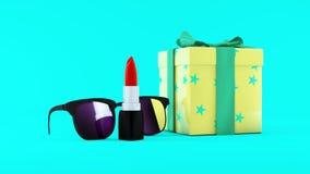 illustration 3D av röd läppstift, solglasögon och giftbox på mintkaramellbakgrund pärlor för blå för begrepp för bakgrundsskönhet Arkivbilder