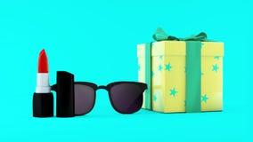 illustration 3D av röd läppstift, solglasögon och giftbox på mintkaramellbakgrund pärlor för blå för begrepp för bakgrundsskönhet Royaltyfri Bild