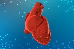 illustration 3d av röd mänsklig hjärta på futuristisk blå bakgrund Digitala teknologier i medicin royaltyfri fotografi