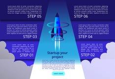 illustration 3D av raket med infographic beståndsdelar och ultravioletta strålar för affärsstart internetwifianslutning vektor illustrationer