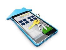 illustration 3d av Real Estate det online-försäljningen eller hyrabegreppet Mobil app-mall Arkivfoto