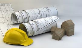 illustration 3d av ritningar, husmodellen och konstruktionsutrustning Royaltyfria Bilder