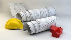 illustration 3d av ritningar, husmodellen och konstruktionsutrustning Royaltyfri Foto