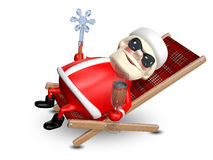 illustration 3D av Santa Claus i en Deckchair Vektor Illustrationer