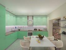 illustration 3d av små lägenheter i pastellfärgade färger Royaltyfri Bild