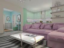 illustration 3d av små lägenheter i pastellfärgade färger Arkivfoto