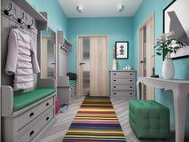 illustration 3d av små lägenheter i pastellfärgade färger Arkivbild