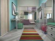 illustration 3d av små lägenheter i pastellfärgade färger Royaltyfria Bilder