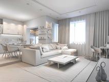 illustration 3d av små lägenheter utan texturer i vit färg Arkivbild