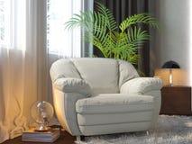 illustration 3d av sovrum i brun färg Royaltyfria Bilder