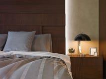 illustration 3d av sovrum i brun färg Royaltyfri Bild