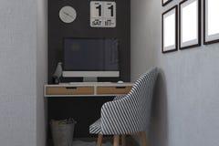 illustration 3d av sovrum i en skandinavisk stil Arkivbilder