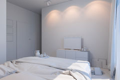 illustration 3d av sovrum i en skandinavisk stil utan kompisen Arkivfoto
