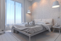 illustration 3d av sovrum i en skandinavisk stil utan kompisen Royaltyfri Bild