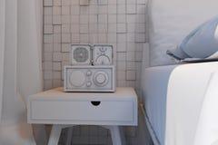 illustration 3d av sovrum i en skandinavisk stil utan kompisen Royaltyfria Foton