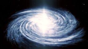 illustration 3D av spiral Vintergatangalaxrotation som fylls med stjärnor och nebulosor royaltyfri illustrationer
