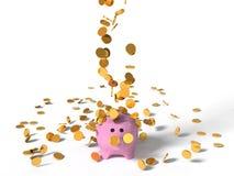 illustration 3d av svinsparbössan och fallande mynt Arkivbild