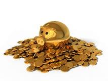 illustration 3d av svinsparbössan och guld- mynt Arkivfoto