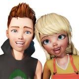 illustration 3D av Toon Kids Royaltyfria Bilder