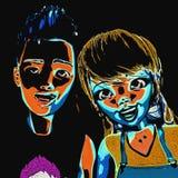 illustration 3D av Toon Kids Arkivfoto
